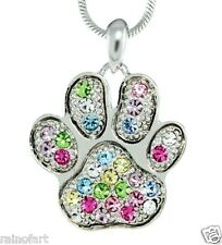 "W Swarovski Crystal Paw Dog Cat Kitty Pawprint Multi-color Pendant 18"" Chain"