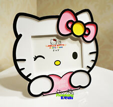 """New Design Cute Pink Hello Kitty 5"""" Kids Family Photo Picture Frame Holder"""