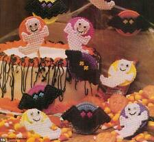 BRIGHT BATS & GHOSTS HALLOWEEN PLASTIC CANVAS PATTERN INSTRUCTIONS