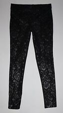 HUE Ponte Pull-On Pants Black with Metallic Floral Print Size Medium M