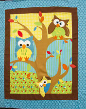 Bright Owl Embroidered & Appliqued Flannel BABY PANEL Fabric
