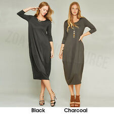 Womens Made in USA Tulip Shaped Midi Dress Round Neck 3/4 Sleeves S M L