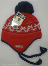 NHL Washington Capitals Reebok Knit Pom Aviator Tassel Hat Cap Beanie KZG64 NEW!