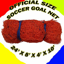 1 ORANGE 24' x 8' x 4' x 10' OFFICIAL SIZE SOCCER GOAL NET NETTING MLS FIFA