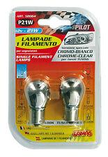 COPPIA LAMPADE 12V 21W 1 FILAMENTO CROMO/BIANCO (P21W)