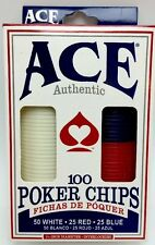 Ace Authentic 100 Poker Chips Set New
