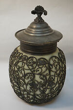 ANTIQUE CRACKER JAR SATIN CUSTARD GLASS ORMOLU BISCUIT COOKIE LID CANISTER