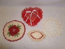 Vtg Old Crochet Red White Sachet Hearts Doilies