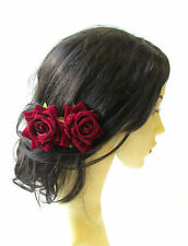 2 x Deep Red Rose Flower Burgundy Hair Pins Vintage Rockabilly Clip Bridal 1507