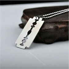 1Pc Stainless Steel Silver Tone Razor Blade Men Pendant Necklace