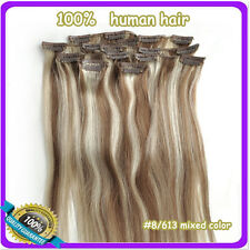 """16""""18""""20""""22""""6 Colors 100% Clip in Real Human Hair Extensions 7Pcs/set 70g 80g"""