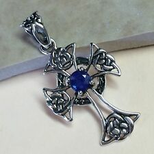 Natural 1ct Sapphire 925 Solid Sterling Silver Cross Pendant 36mm Long