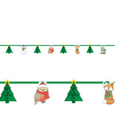 Christmas Party Bunting Garland - Woodland Friends Owls - Honeycomb Parts