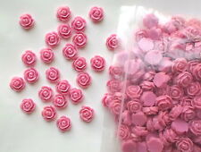 10 x Pink Flat Back Resin Roses/Flower Beads Size 12mm  Resin Cabochons A17