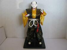 "Japanese Man Doll with Samurai Sword in his Belt Silk Clothing 11"" on Stand"