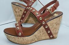 Juicy Couture Brown Shoes Kippet Wedge Sandals Studs Shoes 9 Slings Leather NIB