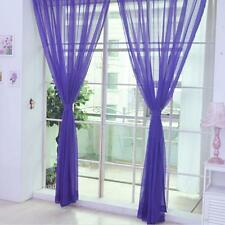 Purple Floral Tulle Voile Door Window Curtain Drape Panel Sheer Scarf Divider BS