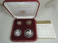 """ISRAEL 1994 HOLY LAND WILDLIFE """"LEOPARD & PALM TREE"""" 2 GOLD +2 SILVER COINS SET"""