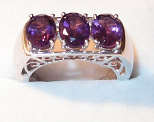 3-stone Amethyst (3.500ct) ring, in platinum bond, Size Q.