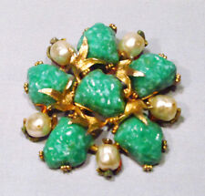 Vintage Signed HAR Green Lava Rock Baroque Pearl Rhinestone Brooch Pin