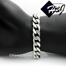 "8.5""MEN's Stainless Steel HEAVY WIDE 11x5mm Silver Cuban Curb Chain Bracelet*53g"