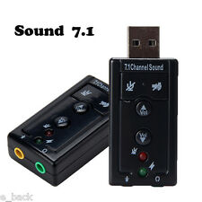 Audio USB 7.1 Canali Esterna 3D Sound Adattatore PC Notebook Card Adapter Black