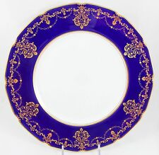 GILT ANTIQUE DINNER PLATE ROYAL DOULTON RA9796 RAISED GOLD ENCRUSTED COBALT BLUE