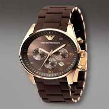 EMPORIO LUXURY ARMANI AR5890 BROWN STRAP CHRONOGRAPH MENS WATCH GIFT 2YR WARANTY
