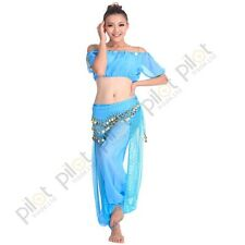 Belly Dance Costume Set Lantern Tops + Shinny Harem Pants & Coins Belts
