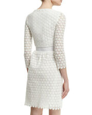 $568 Diane von Furstenberg DVF NOLLY Cotton Honeycomb A-Line Ivory Dress  6 - S