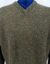 Vintage Woolrich Wool Sweater Nordic Olive Green Sz L Mens Speckled V Neck