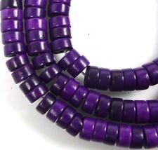 "6x3mm Turquoise Heishi Rondelle Beads 16""  - Purple"