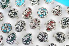 Bid Mixed Jewelry Lots 5pcs Assorted Turquoise Rhinestone Wedding Rings