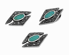 Marcasite Set with Turquoise Sterling Silver 925 Pendant & Earrings Jewelry Gift