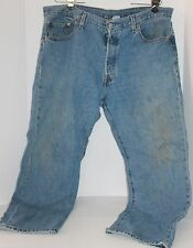 Levis 501 Button Fly Mens Blue Jeans 42 x 30 Work Worn Grunge Copper Rivets