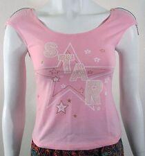 PINK Star print summer sun beach day blouse top shirt Sz S