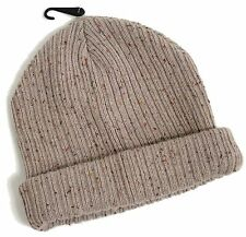 MENS STONE FLECK NEPPY MINI BEANIE OATMEAL THICK RIBBED HAT ONE SIZE