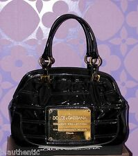 DOLCE & GABBANA Black Patent Leather HUGE *Gold Badge* Logo Satchel MOST WANTED!