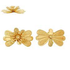 2x tapas de perlas perlkappen remates filigrana flores para 6mm perlas doradas
