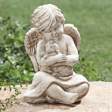 Little Angel Holding Puppy Dog Garden Cemetery Memorial Statue