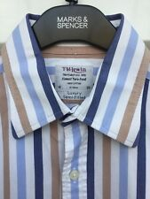 "T.M. LEWIN STRIPED BUSINESS SHIRT 16"" COLLAR LUXURY SEMI-FITTED TWO-FOLD COTTON"