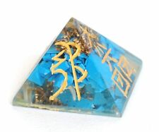 REIKI ENERGY CHARGED NATURAL TURQUOISE & ENGRAVED ORGONE PYRAMID POWERFUL HEALER