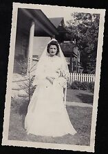 Vintage Antique Photograph Wedding Beautiful Bride Standing in Front of House