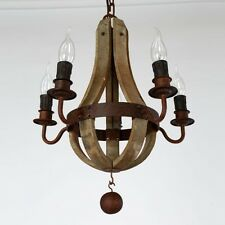 Vintage Rustic Wooden Pendant Wine Barrel Chandelier Bedroom Lamp Lighting NEW