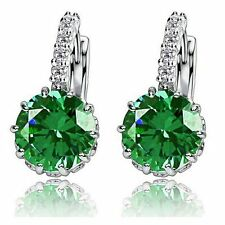 Stunning Colorful CZ Drop/Dangle Hook Earrings White Gold Filled Wedding Jewelry