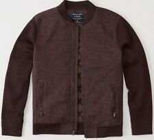 NWT Abercrombie & Fitch Mens Burgundy Sweater Bomber Jacket ~ XS