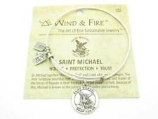 Wind & Fire Saint Michael Charm Wire Bangle Stackable Bracelet Made USA New Gift