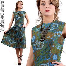 SALE Vintage 50s Rockabilly Pin Up Dress Earthy Floral Full Pleated Tea Swing M