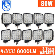 "10x 4""inch 80W Philips LED Work Light Bar Flood Offroad Driving Lamp 12V 4WD 48W"