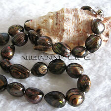 "18"" 11-13mm Dark Brown With Black Wave Freshwater Mother Of Pearl Necklace"